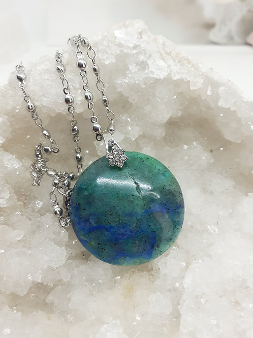 Collier pendentif rond Azurite Chrysocolle extra