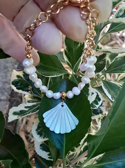 Bracelet Perles d'Eau douce pendentif Coquillage Nacre véritable