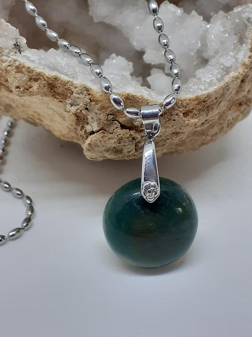 Collier pendentif rond (22mm) en Jade Extra