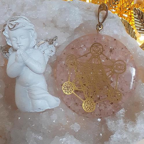 Collier pendentif ORGONITE CUBE DE METATRON QUARTZ ROSE