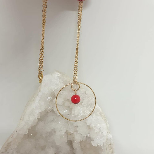 Collier Coquelicot  Corail rouge extra