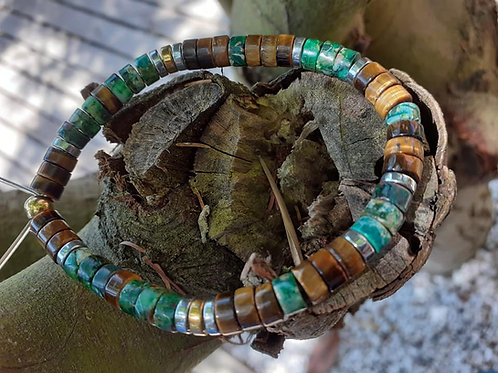 Bracelet Trio Jaspe impérial / Oeil de Tigre / Hématite