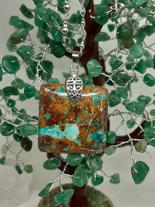Collier pendentif  carré Chrysocolle multicolore