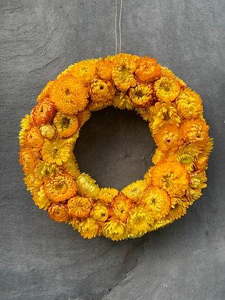 Krans i evighedsblomst - gul