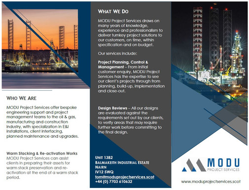 MODU Project Services Advertisement Page