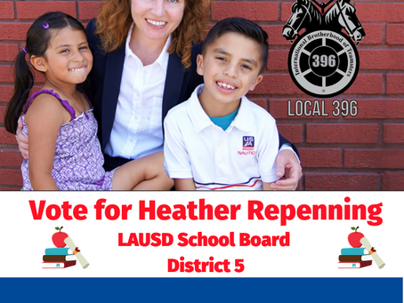 Teamsters Local 396 Endorses Heather Repenning for LAUSD Board District 5