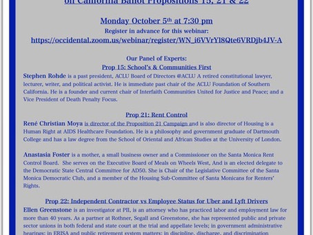 An Educational Panel Discussion & Audience Q&A on California Ballot Propositions 15, 21 & 22