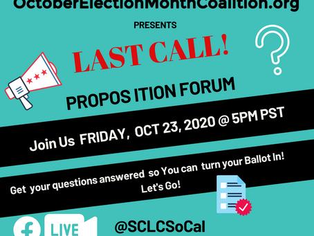 OEMC Presents LAST CALL! Proposition Forum