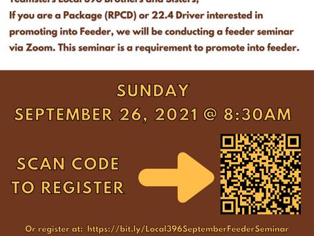 Teamsters Local 396 Online September Feeder Seminar