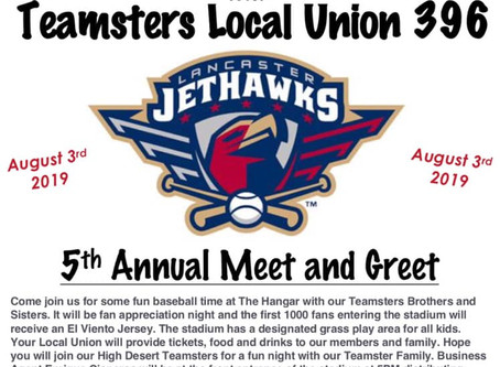 Join Us At Our 5th Annual Lancaster Jethawks Local 396 Night
