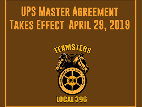 UPS Master Agreement Takes Effect Monday April 29th After Successful Ratification of Local 243 Rider