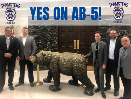 Teamsters Travel to Sacramento in Support of AB-5
