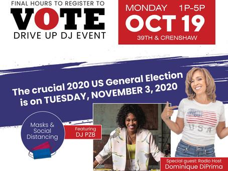 Join Supervisor Mark Ridley-Thomas & LA Free the Vote for Drive-Up Voter Registration DJ Station