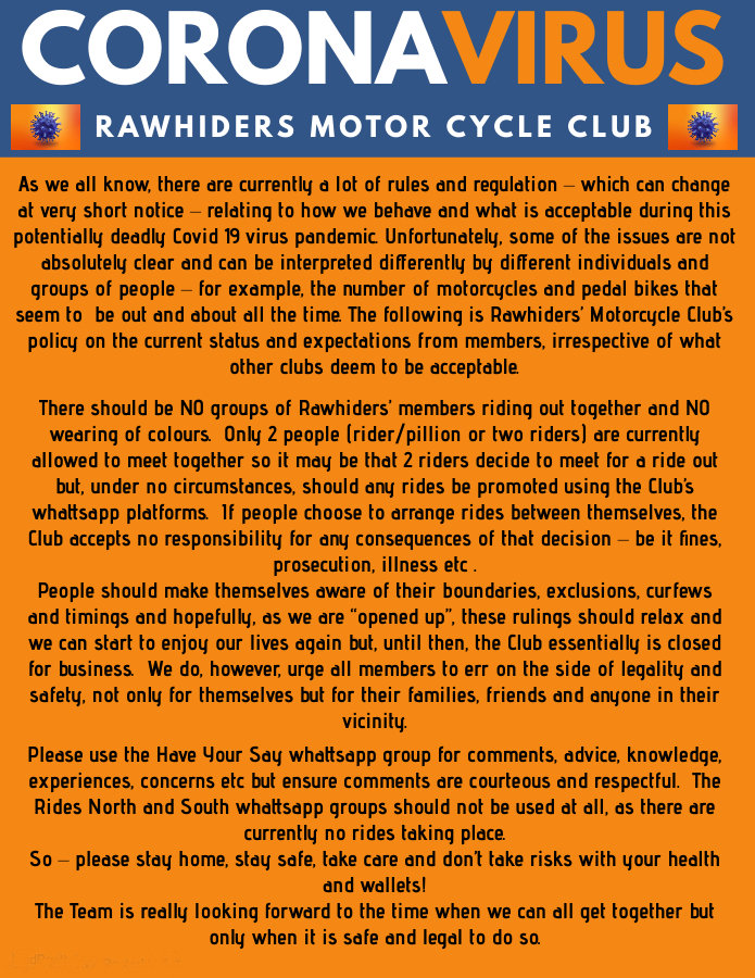 Rawhiders Covid Policy Statement -  Feb