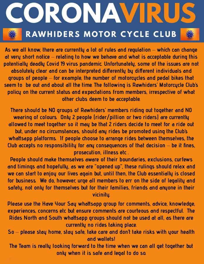 Rawhiders Covid Policy Statement -  Feb