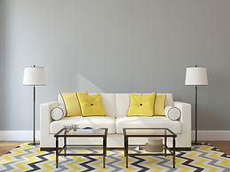 Yellow, Grey and Cream Interior Design