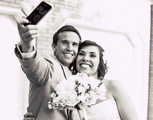 Husband and wife post-wedding selfie