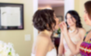Monica Hayes lip gloss touchup