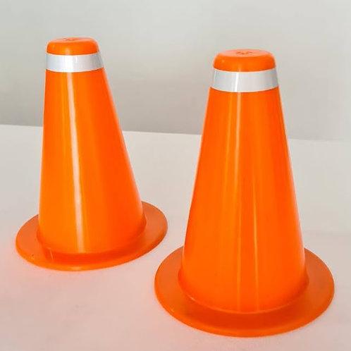 Cono señalización 15 cm naranja con banda reflectiva