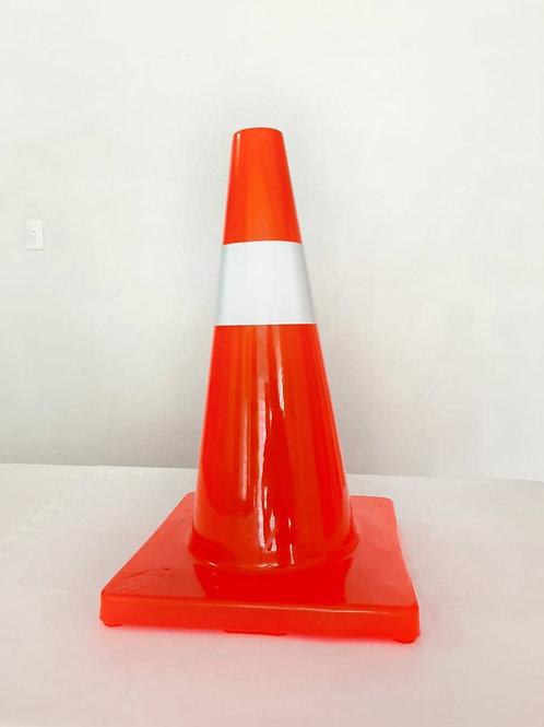 Cono de señalización color naranja altura 45 cm con banda reflectiva