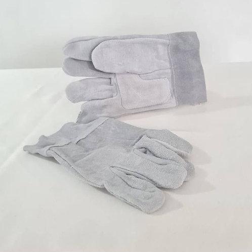 Guante de carnaza corto color gris