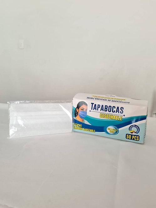 Tapabocas triple capa con elástico ajustable empaque individual