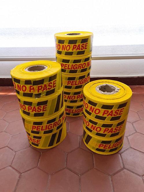 Cinta amarilla de señalización rollo x 500 metros ancho 10 cm plástica
