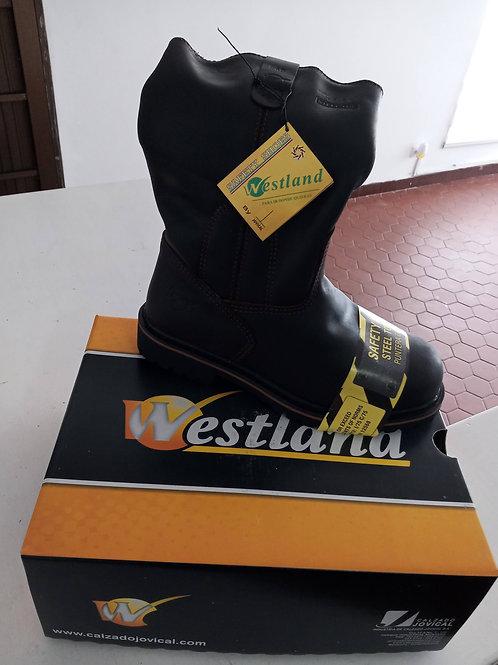 Bota de seguridad marca Westland tipo caña alta puntera composite cuero graso