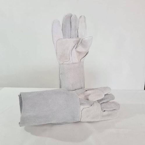 Guante de carnaza largo color gris