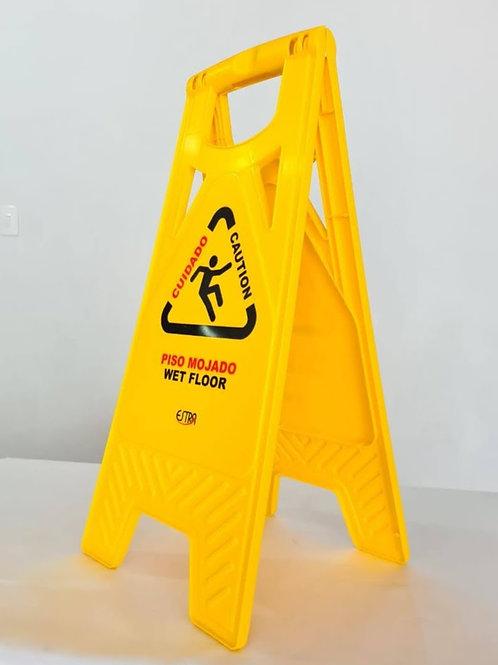 Aviso plástico tipo tijera amarillo PISO MOJADO