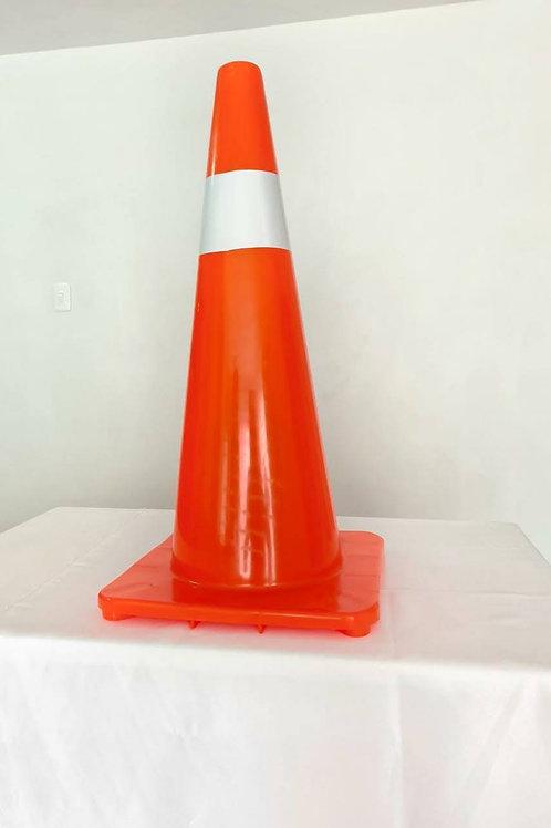 Cono de señalización color naranja 70 cm altura con banda reflectiva