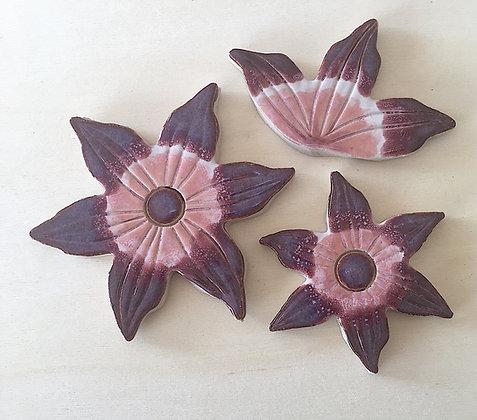 סט 3 פרחי קרמיקה בסגול וורוד