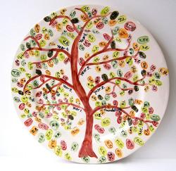 Fingerprint Tree Handpainted Pottery Painted Plate Gift