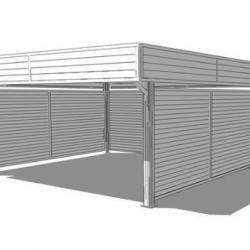 Carport en bois  et en aluminium