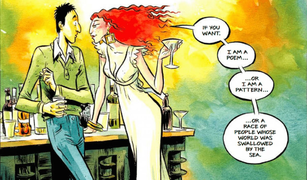 "A panel from the graphic novel adaptation of Neil Gaiman's ""How to Talk to Girls at Parties"" with art by Fabio Moon and Gabriel  Ba, published by Dark Horse Comics in 2017."