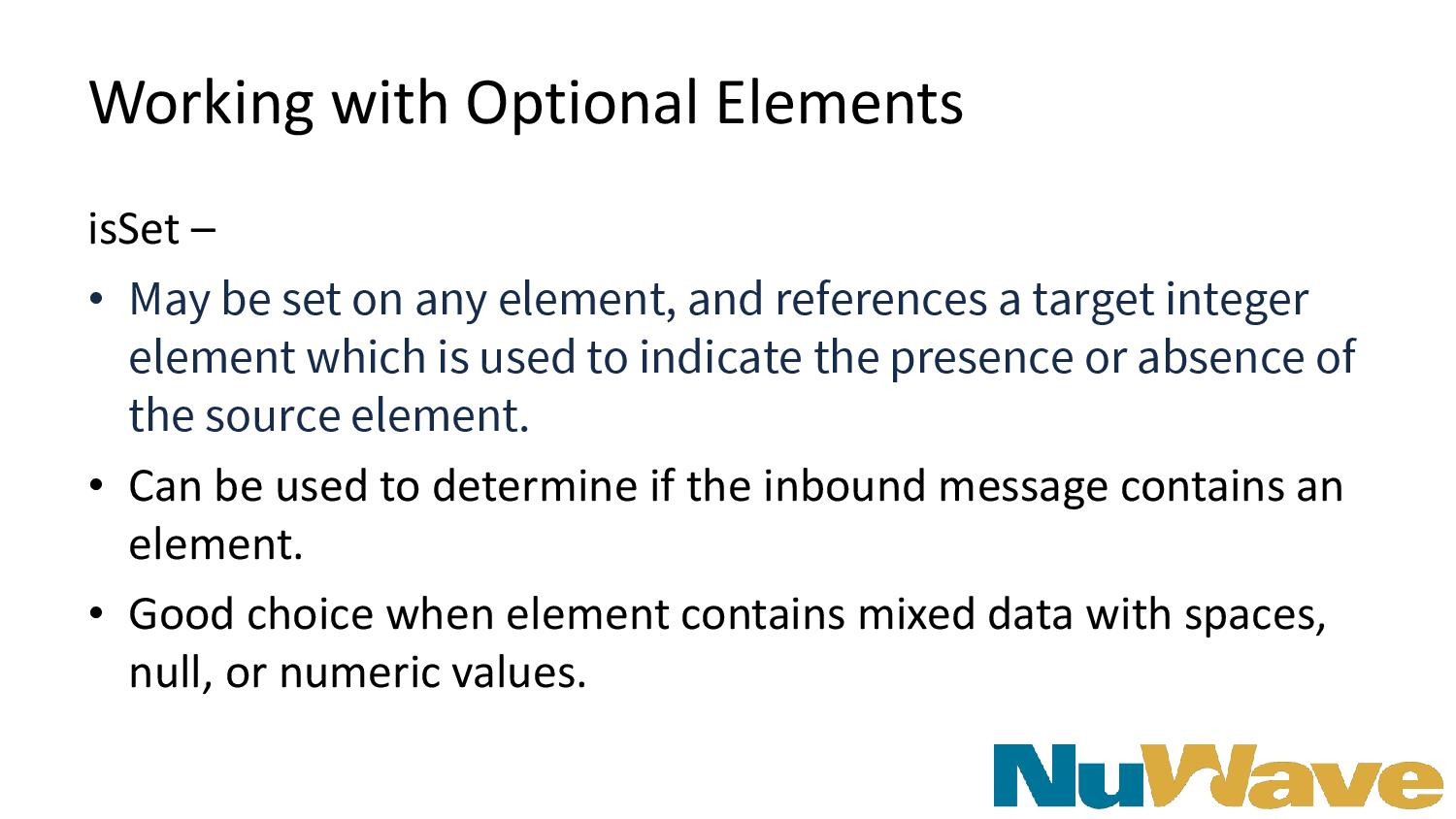 Working with Optional Elements