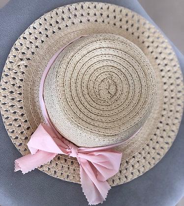 כובע קש עגול טבעי שתי גוונים