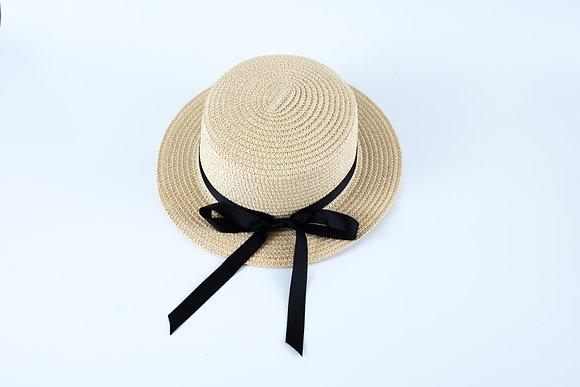 כובע קש עגול סרט פפיון שחור דק