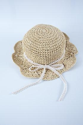 כובע קש טבעי סרוג גמיש -סרט פפיון דק תחרה שמנת