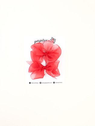 זוג סיכות אורגנזה -אדום