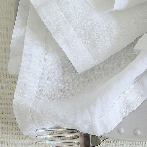 Stone Washed Optical White Linen Napkin