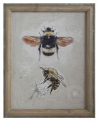 Bungalow Lane Wood Framed Canvas w/ Bees