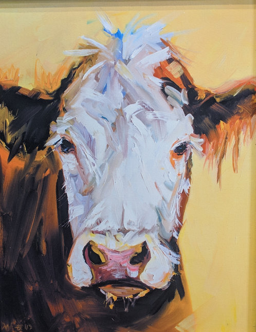 Diane Whitehead Cow on Canvas
