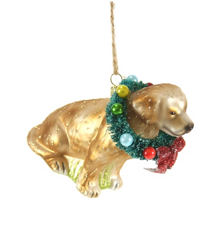 Festive Yellow Lab Ornament