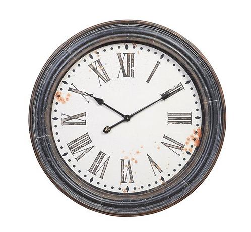 Round MDF & Metal Wall Clock