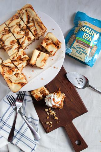 Caramel Macadamia Nut Cheesecake Bars