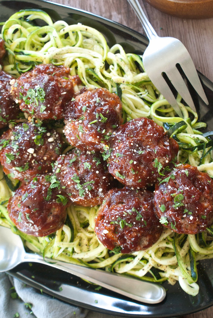 BBQ Meatballs with Zoodles