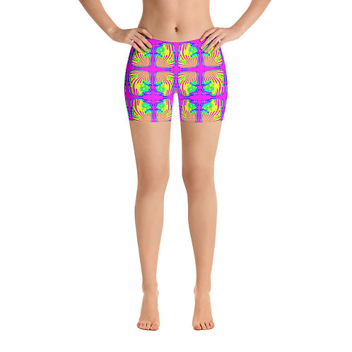 All over Hippie BOHO print Shorts Neon Hot Pink, Green, Yellow, Blue