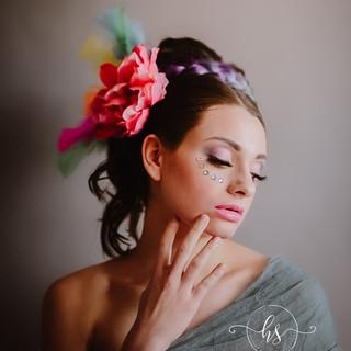 Rainbow Goddess hair and makeup