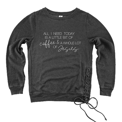Coffee & Jesus pullover Charcoal Grey